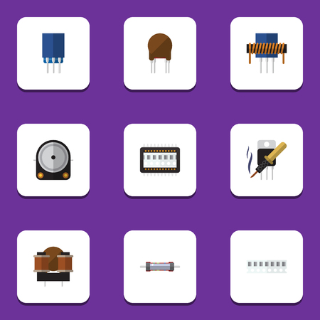 Flat Icon Electronics Set Of Receptacle, Hdd, Repair And Other Vector Objects Illustration