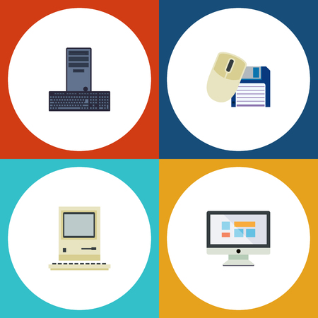 computerized: Flat Icon Laptop Set Of Computing, Computer Mouse, Display And Other Vector Objects