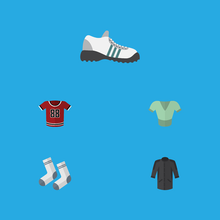 Flat Icon Dress Set Of Foot Textile, Sneakers, Casual And Other Vector Objects Illustration