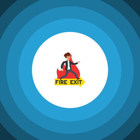 Emergency Vector Element Can Be Used For Emergency, Fire, Exit Design Concept.  Isolated Fire Exit Flat Icon.