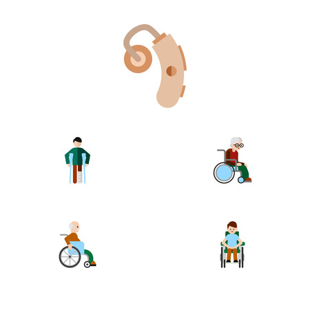 Flat Icon Disabled Set Of Injured, Disabled Person, Audiology And Other Vector Objects