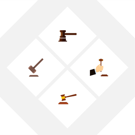Flat Icon Hammer Set Of Tribunal, Hammer, Law And Other Vector Objects Illustration