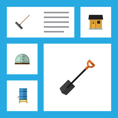 Flat Icon Farm Set Of Hothouse, Harrow, Container And Other Vector Objects Illustration