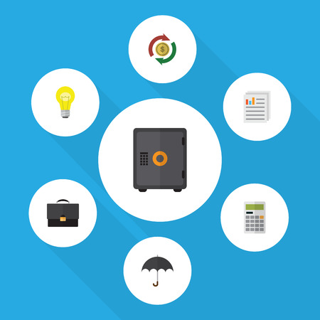 Flat Icon Finance Set Of Strongbox, Calculate, Parasol And Other Vector Objects
