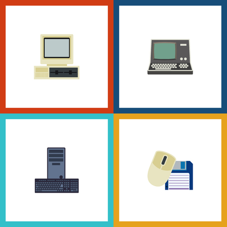 computerized: Flat Icon Laptop Set Of Computer Mouse, Processor, Computer And Other Vector Objects Illustration