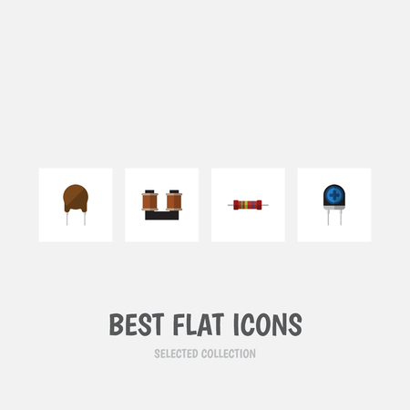 Flat Icon Electronics Set Of Resistance, Triode, Transducer And Other Vector Objects Illustration