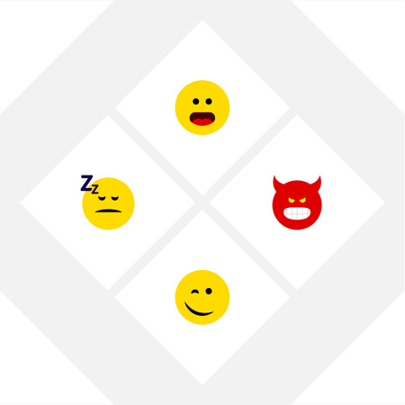 Flat Icon Emoji Set Of Winking, Pouting, Wonder And Other Vector Objects Illustration