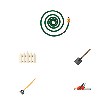 Flat Icon Dacha Set Of Shovel, Hosepipe, Tool And Other Vector Objects