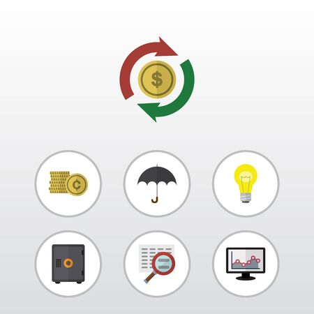 Flat Icon Gain Set Of Strongbox, Cash, Bubl And Other Vector Objects
