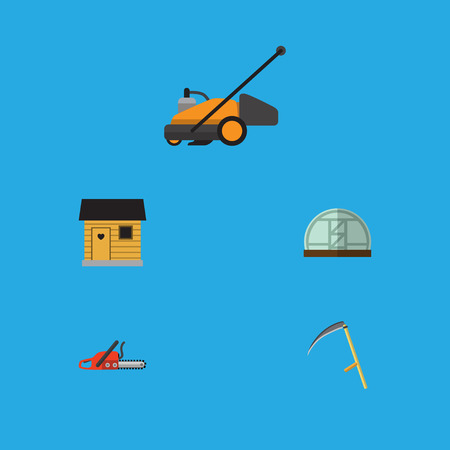 Flat Icon Dacha Set Of Stabling, Lawn Mower, Cutter And Other Vector Objects