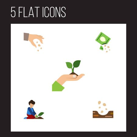 Flat Icon Seed Set Of Sow, Seed, Care And Other Vector Objects