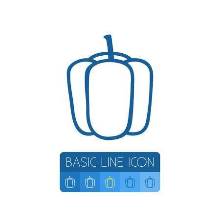 L'élément de vecteur de Capsicum peut être employé pour le concept de conception de Capsicum, doux, poivre. Contour de poivron isolé.