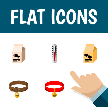 Flat Icon Pets Set Of Hound Necklace, Fish Nutrient, Kitty Collar And Other Vector Objects