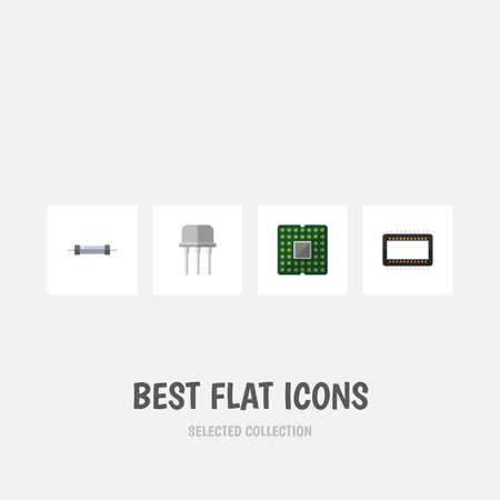 hardware: Flat Icon Electronics Set Of Mainframe, Resistor, Unit And Other Vector Objects Illustration