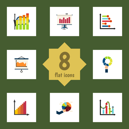 relational: Flat Icon Graph Set Of Statistic, Pie Bar, Diagram And Other Vector Objects Illustration