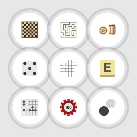 Flat Icon Play Set Of Poker, Chess Table, Labyrinth And Other Vector Objects Illustration
