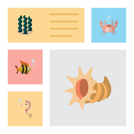 Flat Icon Nature Set Of Seashell, Seafood, Hippocampus And Other Vector Objects