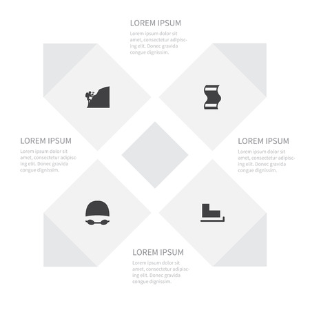 Icon Activities Set Of Mountaineer, Goggles, Slide And Other Vector Objects
