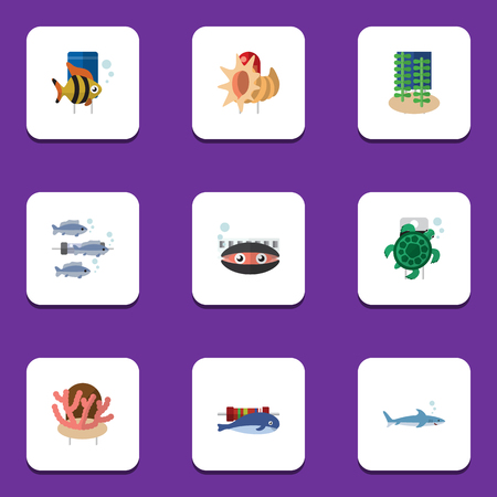 Flat Icon Nature Set Of Seashell, Tuna, Seafood And Other Vector Objects Stock Vector - 83881154