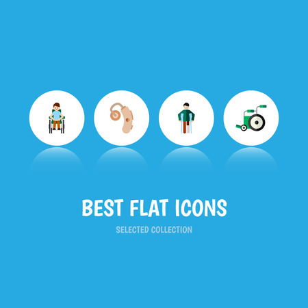 Flat Icon Cripple Set Of Audiology, Equipment, Disabled Person And Other Vector Objects