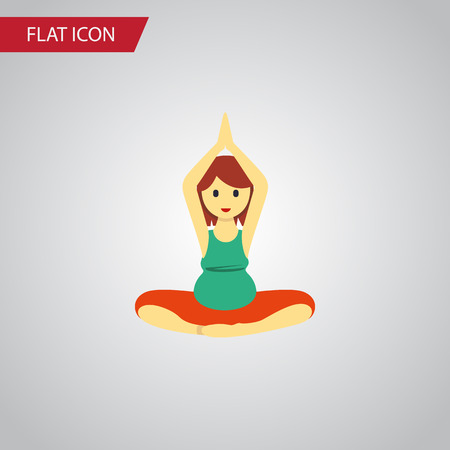Yoga Vector Element Can Be Used For Pregnant, Woman, Meditation Design Concept.  Isolated Meditation Flat Icon.