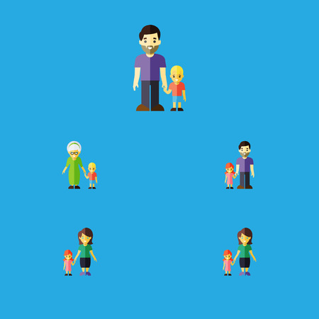 Flat Icon Relatives Set Of Grandma, Daugther, Son Vector Objects Illustration