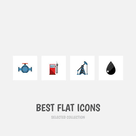 drill: Flat Icon Oil Set Of Droplet, Petrol, Flange And Other Vector Objects Illustration