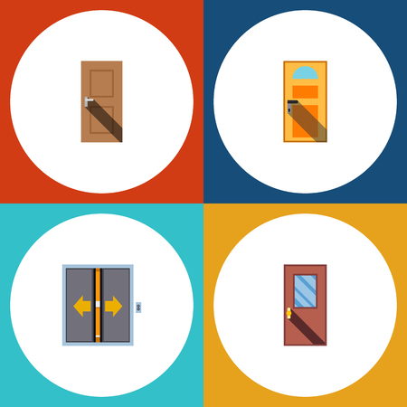 home office interior: Flat Icon Approach Set Of Entrance, Exit, Door And Other Vector Objects