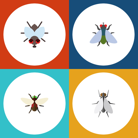 Flat Icon Fly Set Of Fly, Hum, Bluebottle And Other Vector Objects