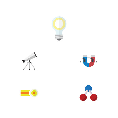 Flat Icon Knowledge Set Of Lightbulb, Nuclear, Attractive Force And Other Vector Objects Illustration