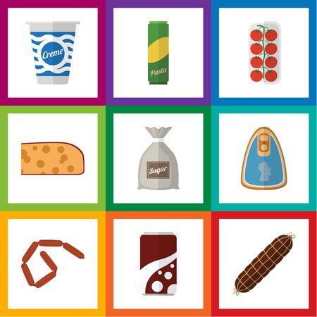 Flat Icon Eating Set Of Bratwurst, Yogurt, Sack And Other Vector Objects