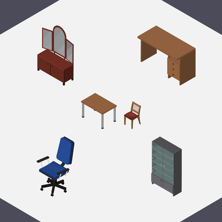 Isometric Design Set Of Chair, Table, Office And Other Vector Objects