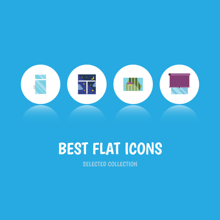veranda: Flat icon set of clean, glazing, frame and other objects. Illustration