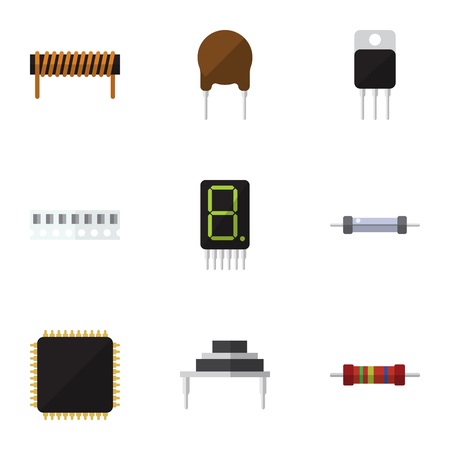 numeric: Flat Icon Technology Set Of Resistor, Cpu, Destination And Other Vector Objects. Also Includes Electronics, Coil, Transistor Elements.