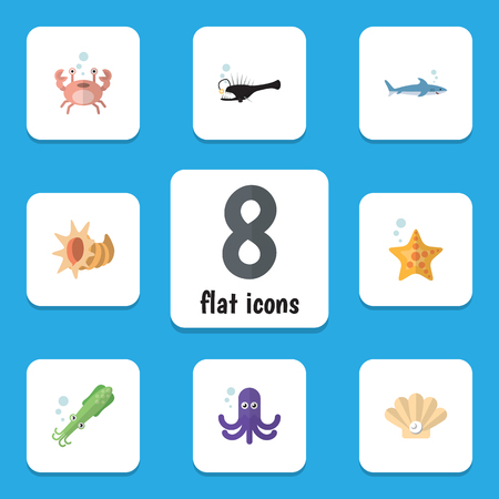 Flat Icon Nature Set Of Tentacle, Fish, Conch And Other Vector Objects