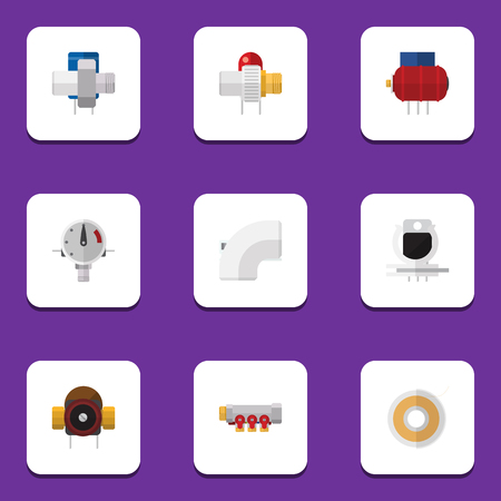 Flat Icon Industry Set Of Pressure, Industry, Container And Other Vector Objects