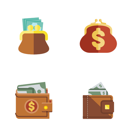 case: Flat Icon Purse Set Of Finance, Money, Pouch And Other Vector Objects