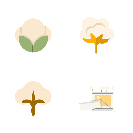 boll: Flat Icon Cotton Set Of Fluffy, Flower, Fiber And Other Vector Objects. Also Includes Fluffy, Skein, Cotton Elements. Illustration