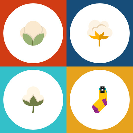 Flat Icon Cotton Set Of Flower, Cotton, Hosiery And Other Vector Objects. Also Includes Fiber, Half-Hose, Cotton Elements.