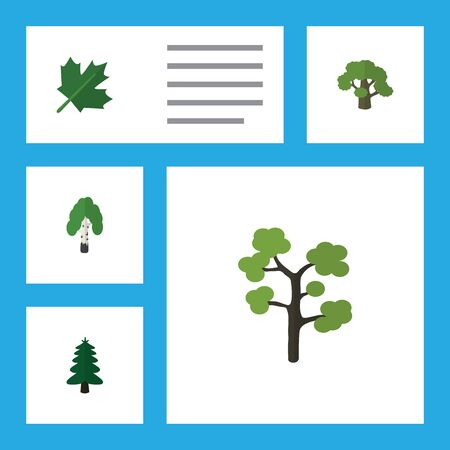 green environment: Flat Icon Ecology Set Of Tree, Oaken, Garden And Other Vector Objects. Also Includes Birch, Evergreen, Tree Elements. Illustration