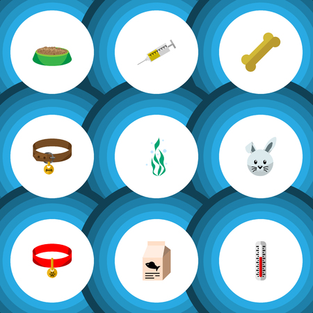 Flat Icon Animal Set Of Hound Necklace, Rabbit Meal, Fish Nutrient And Other Vector Objects Stock Vector - 84013989