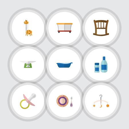 Flat Icon Baby Set Of Nipple, Playground, Children Scales And Other Vector Objects. Also Includes Pacifier, Cosmetics, Children Elements.