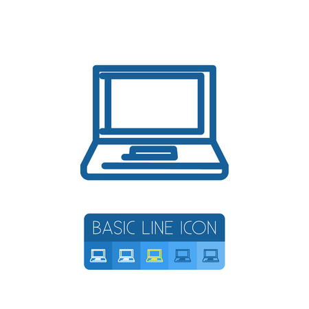 computerized: Isolated Desktop Outline. Notebook Vector Element Can Be Used For Notebook, Computer, Desktop Design Concept.
