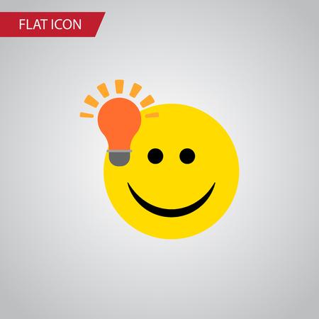 격리 된 전구 아이디어 평면 아이콘입니다. 좋은 의견을 가지고 벡터 요소 빛, 아이디어, 미소 디자인 개념에 대 한 사용할 수 있습니다.