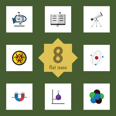 biohazard: Flat Icon Knowledge Set Of Glass, Proton, Orbit And Other Vector Objects Illustration