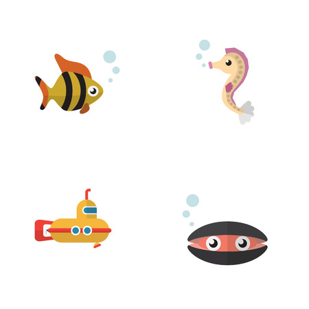 Flat Icon Nature Set Of Scallop, Seafood, Periscope And Other Vector Objects
