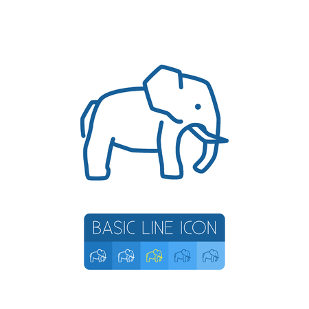 Trunked Animal Vector Element Can Be Used For Elephant, Trunked, Animal Design Concept.  Isolated Indian Elephant Outline. Illustration