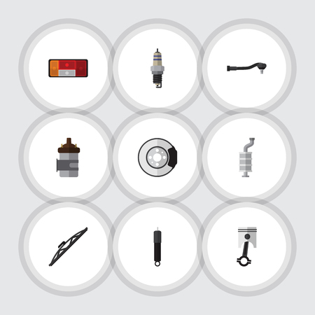 silent: Flat Icon Auto Set Of Conrod, Silencer, Absorber And Other Vector Objects. Also Includes Engine, Disk, Muffler Elements.