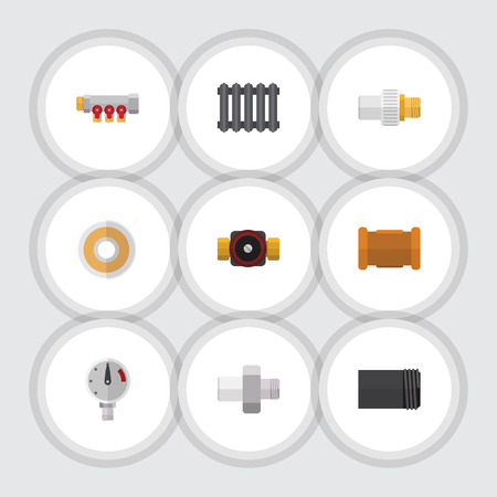 Flat Icon Pipeline Set Of Tube, Industry, Tap And Other Vector Objects. Also Includes Industry, Heater, Manometer Elements. Illustration