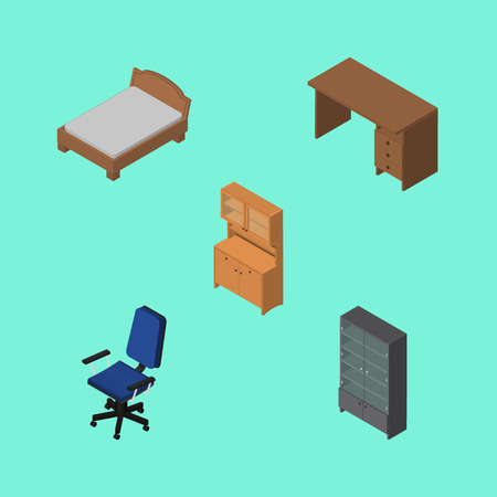 Isometric Design Set Of Cupboard, Bedstead, Table And Other Vector Objects Illustration